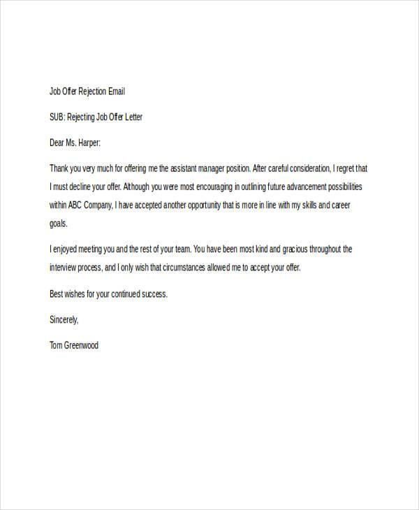letter rejecting job offer