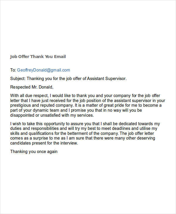 7+ Job Offer Email Examples  Samples