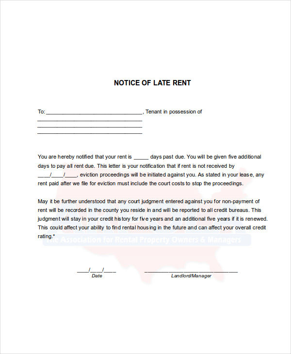 7+ Late Rent Notice Examples  Samples