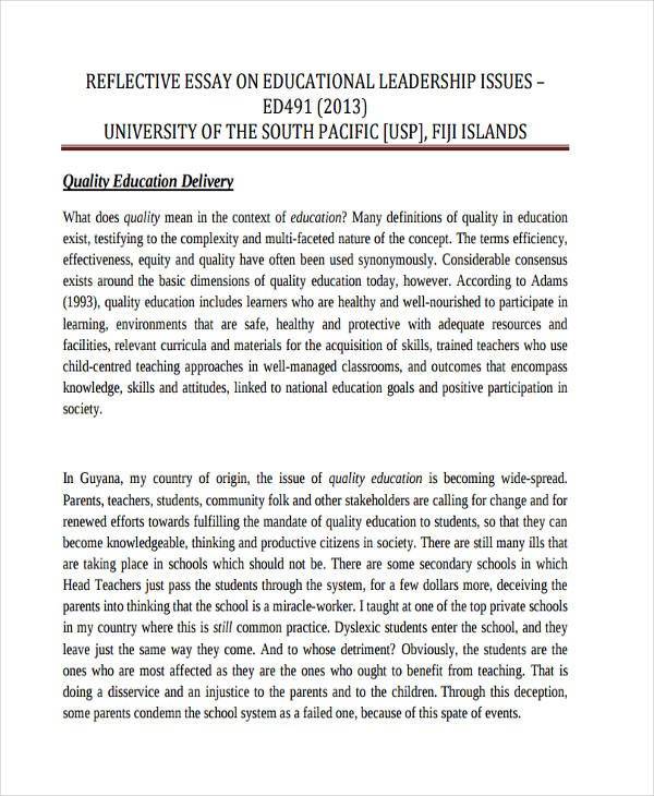 10+ Reflective Essay Examples  Samples - PDF