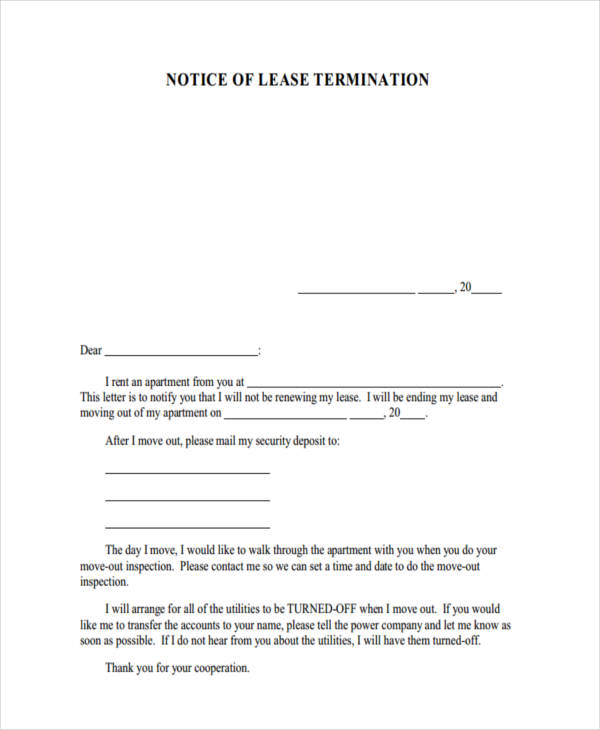 8+ Termination Notice Examples \ Samples - lease termination letter example