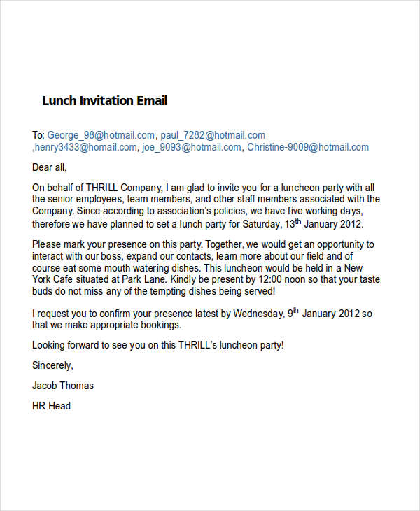 7+ Invitation Email Examples  Samples - PDF, Word