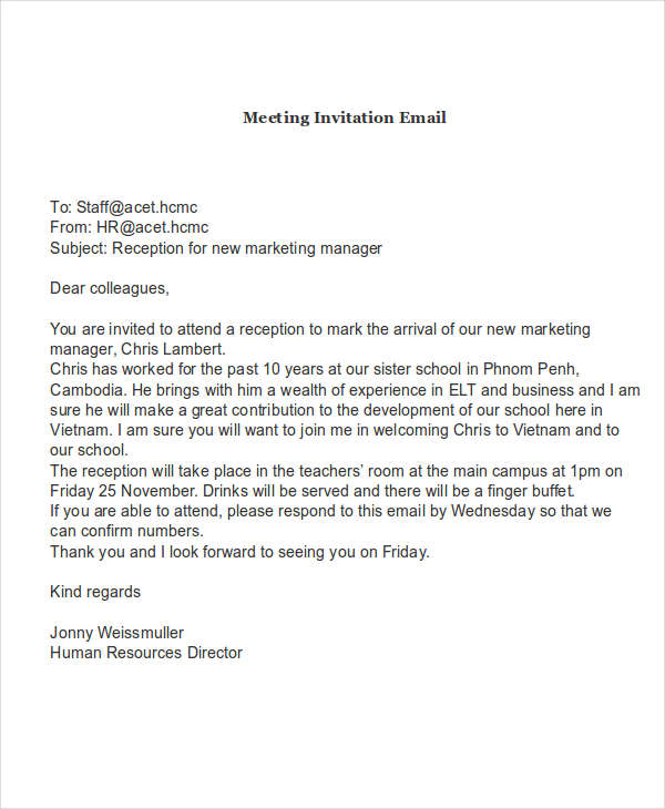 meeting request email samples