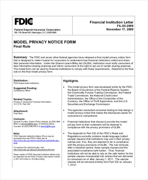 8+ Privacy Notice Examples \ Samples - notice form example