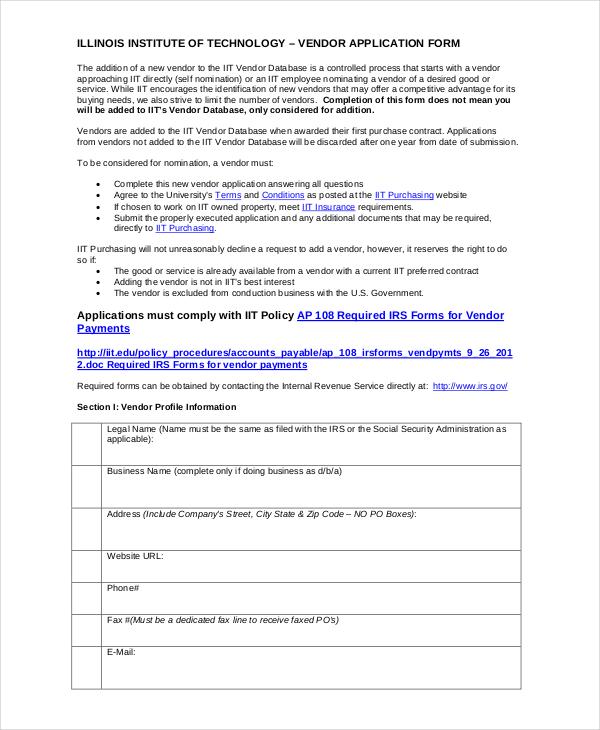 9+ Vendor Application Examples  Samples - vendor application form