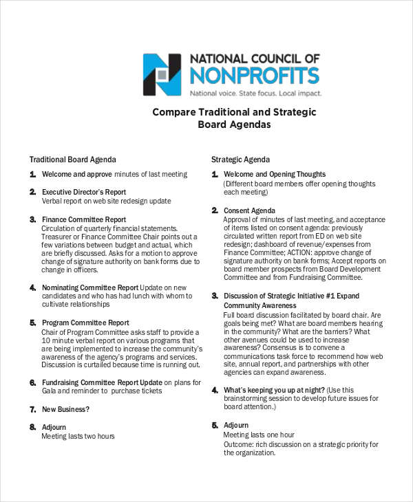6+ Examples of Nonprofit Agendas - board meeting agenda