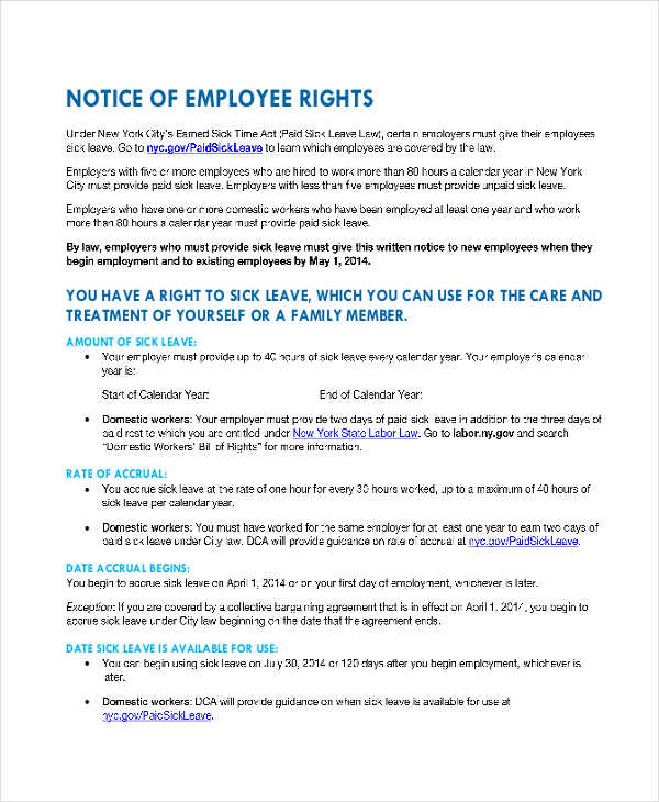 8+ Employee Notice Examples  Samples