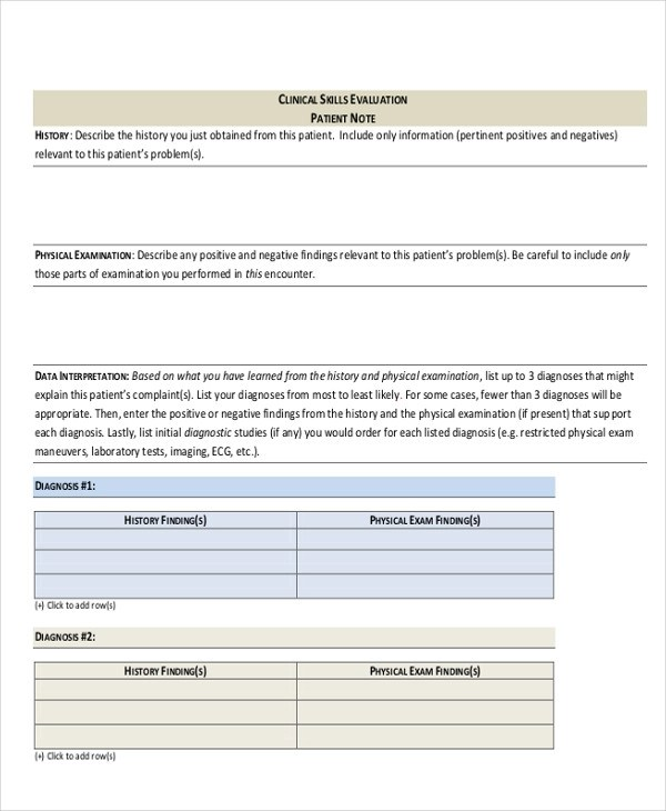 5+ Chart Note Examples \ Samples - patient note