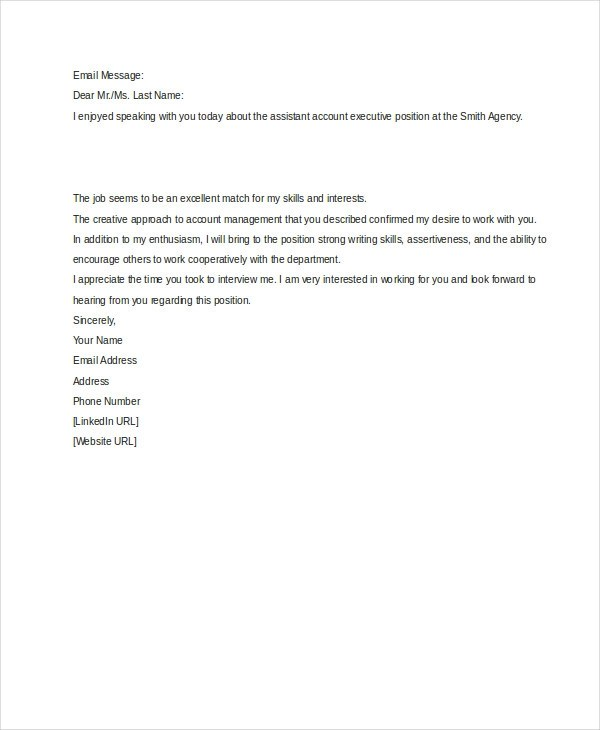 4+ Thank-You Emails After Interview - thank you email after interview template