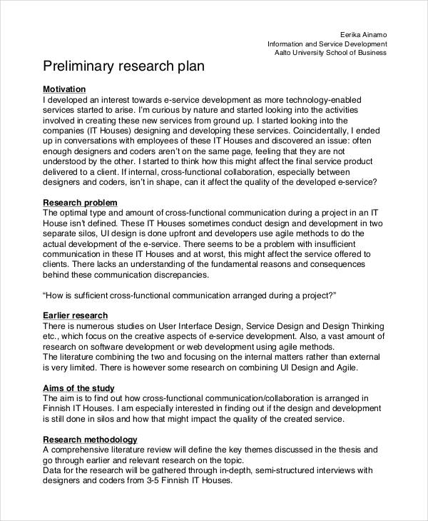 11+ Research Plan Examples, Samples