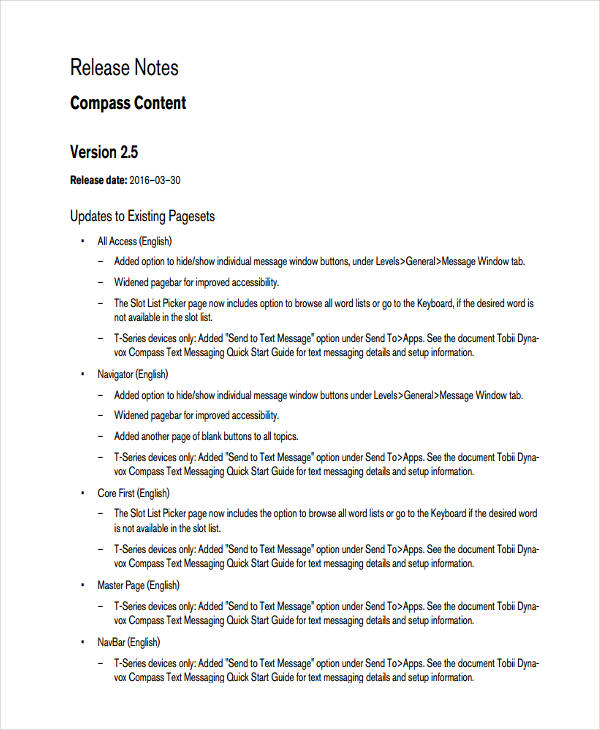 release notes template doc - Romeolandinez