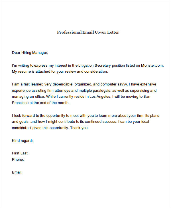 email sample for cover letter and resume attached