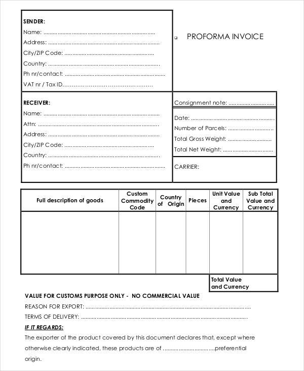 7+ Proforma Invoice Examples  Samples