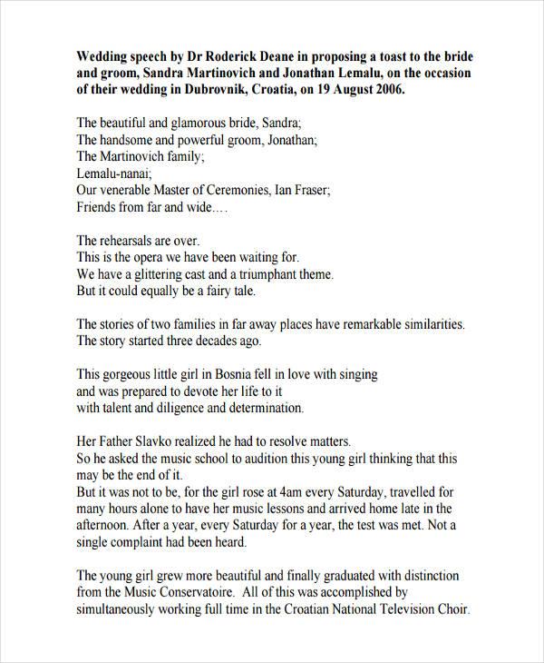 7+ Wedding Speech Examples, Samples - Wedding Speech Example