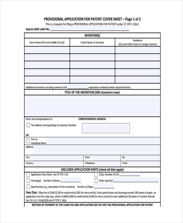 6+ Patent Applications Examples  Sampels - provisional patent template