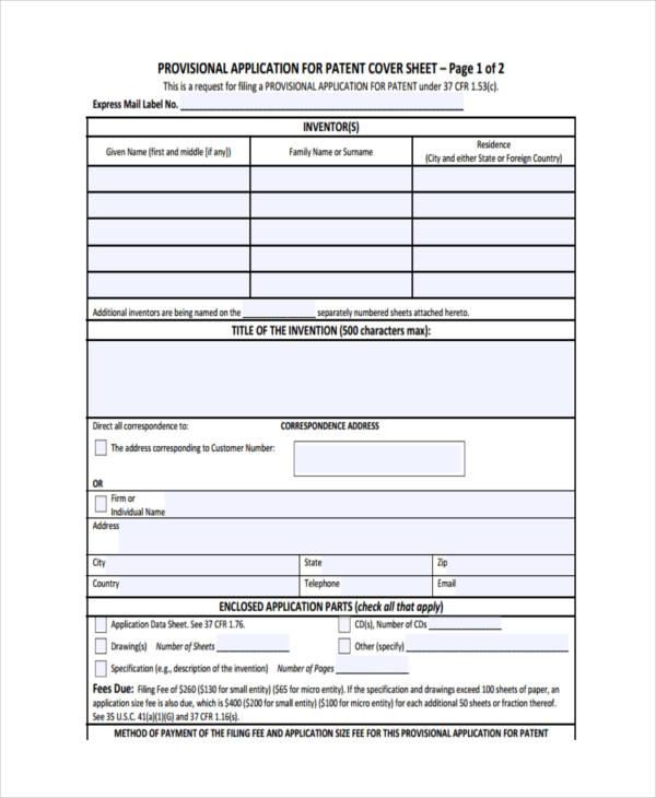 6+ Patent Applications Examples  Sampels - provisional patent application example