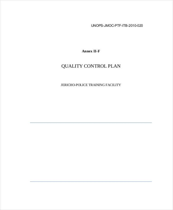 9+ Quality Plan Examples, Samples - control plan