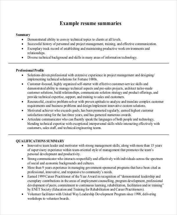4+ Summary Writing Examples, Samples - summary example resume