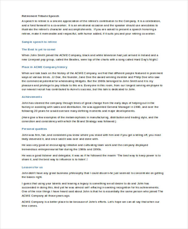 speech headmaster retirement essay This sample retirement speech is designed to be given by a friend and colleague of the retiree although this particular speech is geared towards a teacher, you could easily rework it to make it suitable for anyone retiring, whether a ceo, waitress or mailman.