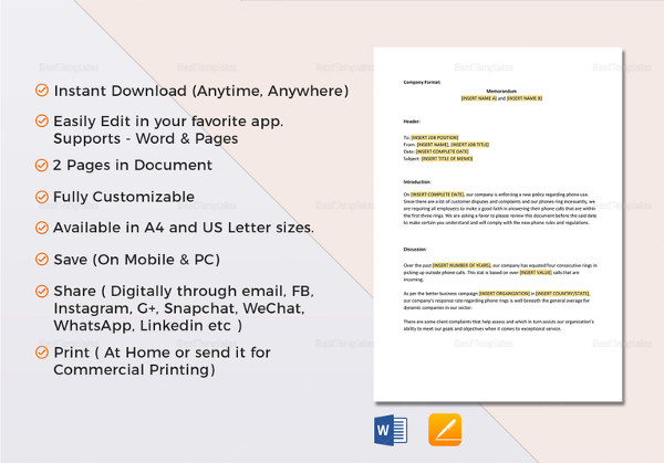 12+ Business Memo Examples  Samples - PDF, DOC, Pages - Sample Business Memo