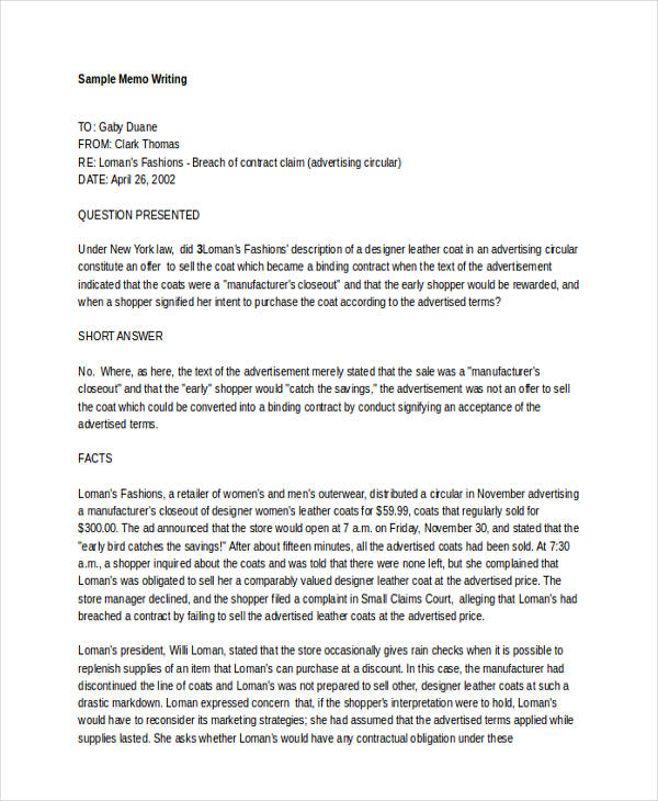 8+ Memo Writing Examples  Samples - PDF, DOC - formal memo template