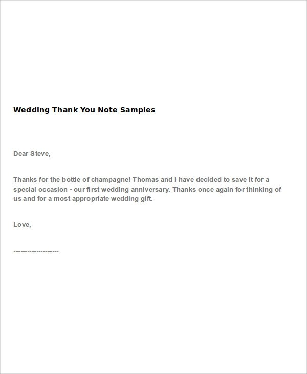 4+ Wedding Thank-You Note Examples  Samples