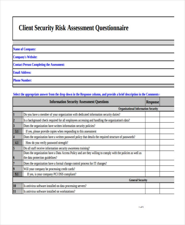 9+ Examples of Risk-Assessment Questionnaires - sample security risk assessment