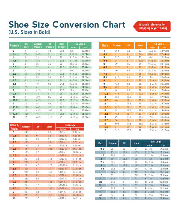 8+ Size Chart Examples, Samples Examples