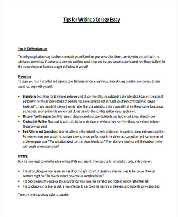 21+ Essay Writing Examples - tips on writing a college essay