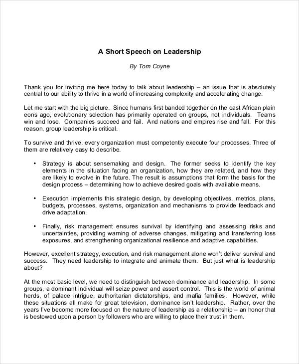 10+ Leadership Speech Examples  Samples - PDF Examples