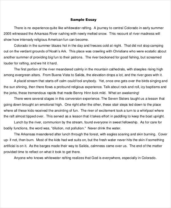 7+ Short Essay Examples  Samples - PDF