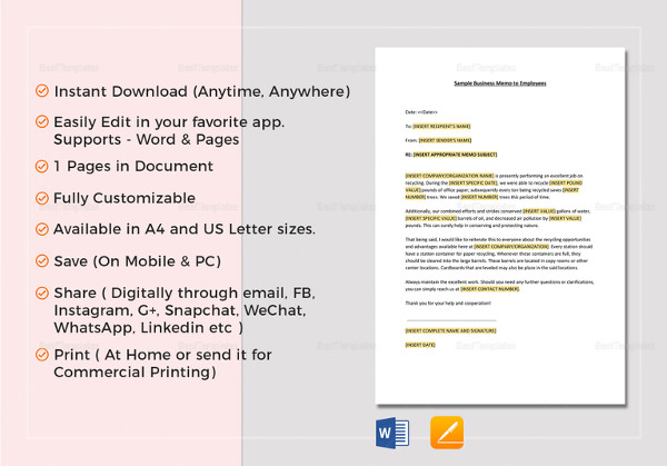 16+ Employee Memo Examples  Samples - PDF, Word - Sample Memos For Employees