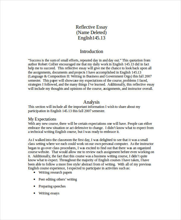 english reflective essay example reflective essay 1 reflective essay