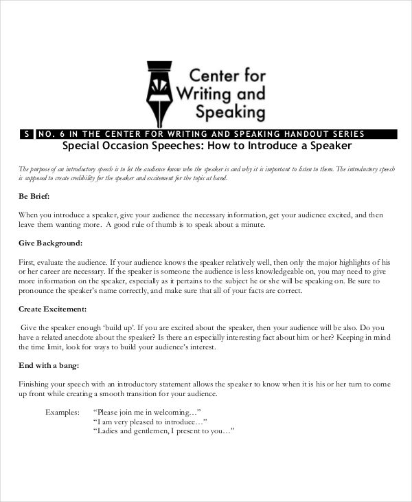 Special Occasion Speech Outline  BesikEightyCo