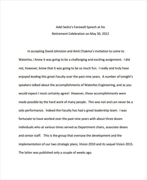 7+ Retirement Speech Examples, Samples Examples