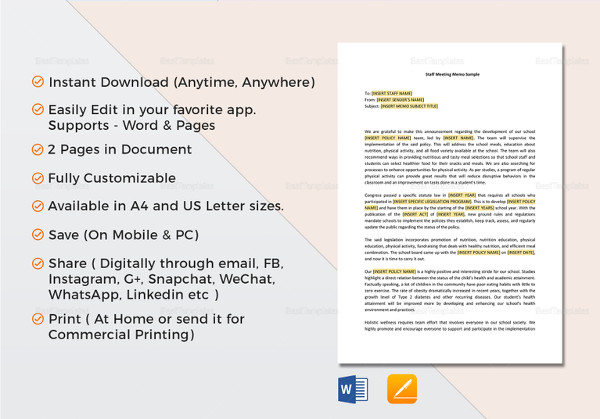 9+ Meeting Memo Examples  Samples - PDF, DOC, Pages