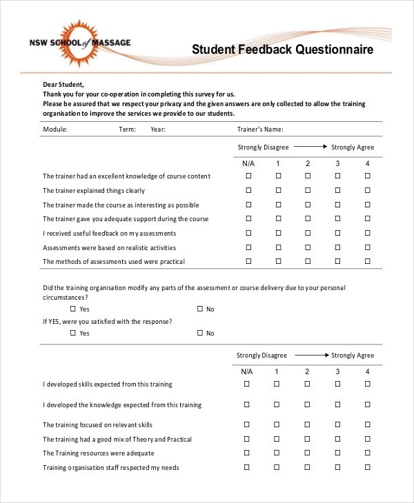 29+ Questionnaire Examples - PDF Examples
