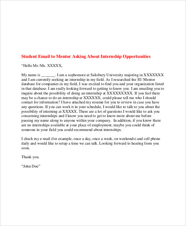 21+ Email Cover Letter Examples \ Samples - cover letter student internship