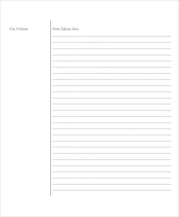 8+ Cornell Note Examples \ Samples - cornell note template