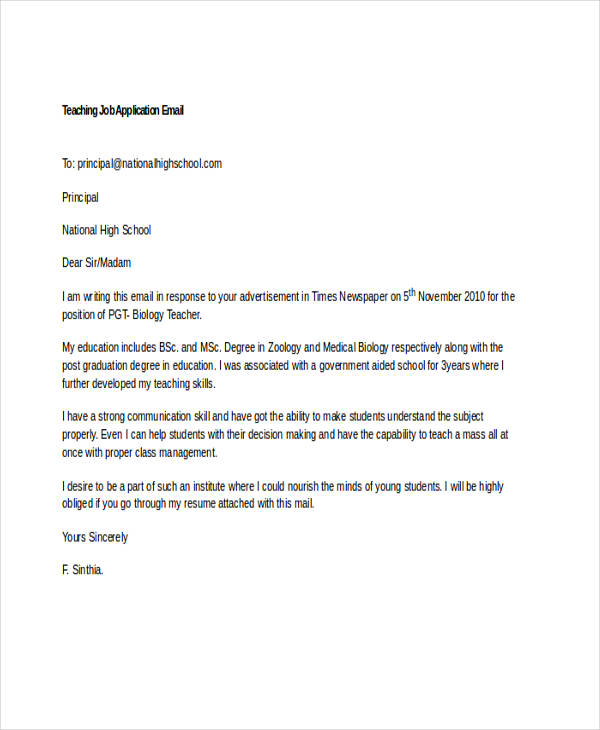 7+ Job Application Emails Examples \ Samples - application sample