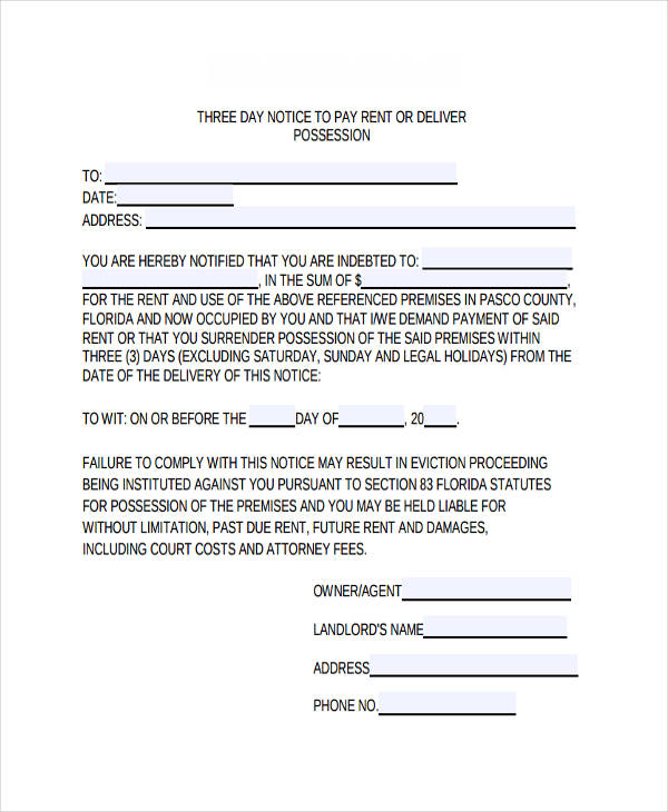 Eviction Notice Example Printable Sample 3 Day Eviction Notice - notice form example