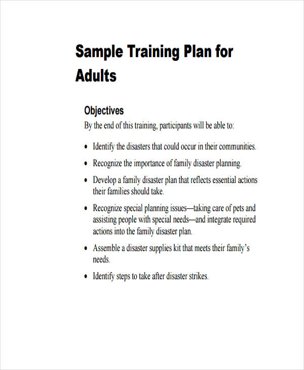 8+ Training Plan Examples, Samples - sample training plan