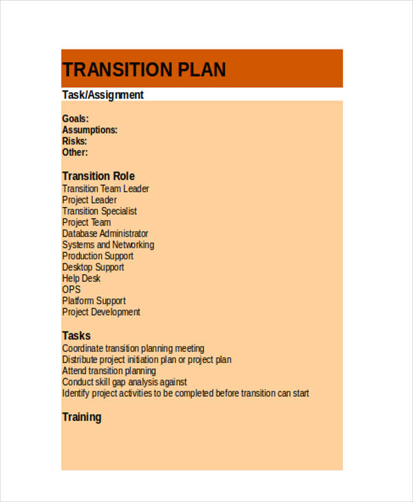 10+ Transition Plan Examples, Samples