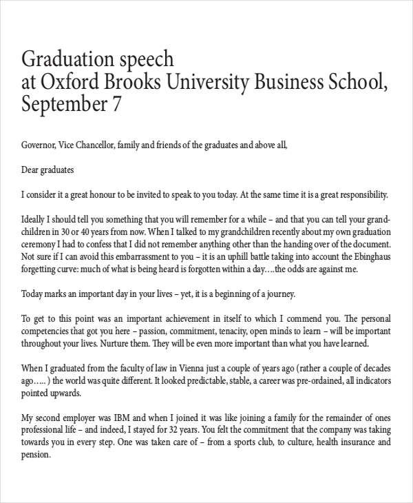 8+ Graduation Speech Examples  Samples - PDF - valedictorian speech examples