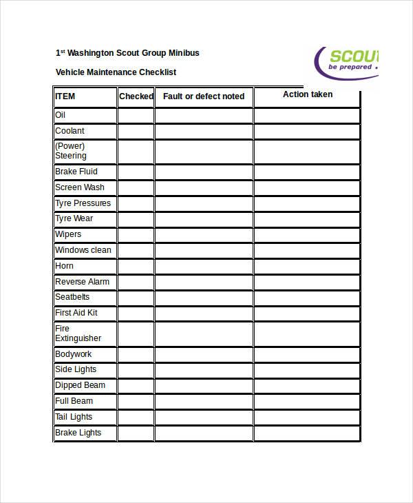 9+ Maintenance Checklist Examples, Samples - maintenance checklist template