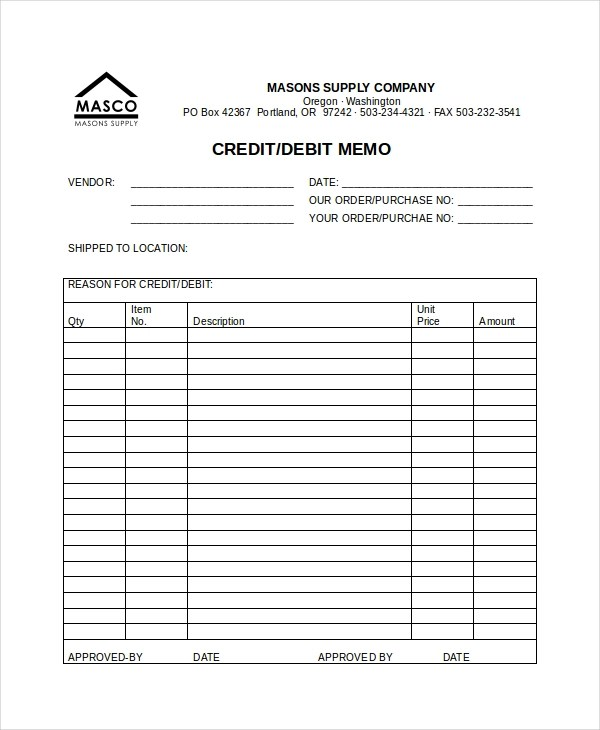 debit memo sample - Towerssconstruction