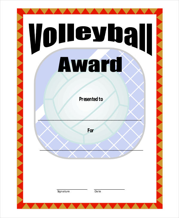 Free Volleyball Certificate Templates - Add Printable Badges