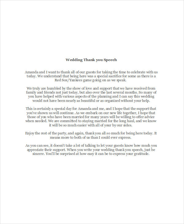 7+ Thank-You Speech Examples  Samples - PDF, DOC - wedding speech example