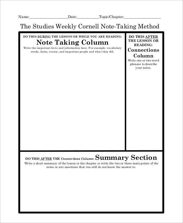8+ Cornell Note Examples  Samples - cornell note