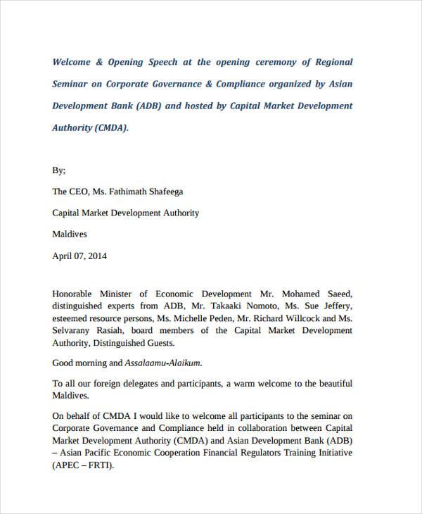23+ Speech Examples - PDF - tribute speech examplestraining evaluation form